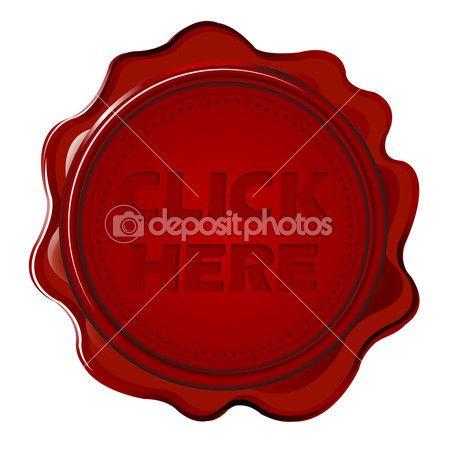 selo de cera com texto clique aqui — Imagem Stock #16831383
