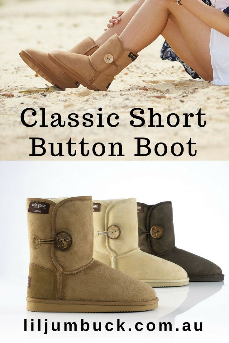 ebf01221a63 Short ugg boot with button and elastic band closure for an extra ...