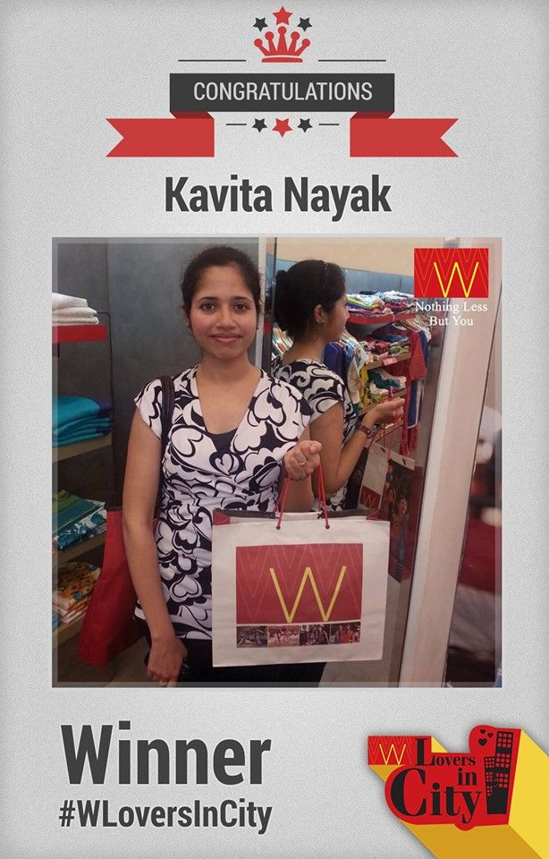 Here is our 1st #Winner of #WLoversInCity. Congratulations Kavita.  Shop with us this #sale season & click pictures of #Wshopping bags, upload them with #wforwoman on Instagram, Facebook, Pinterest or Twitter & win amazing vouchers with us.