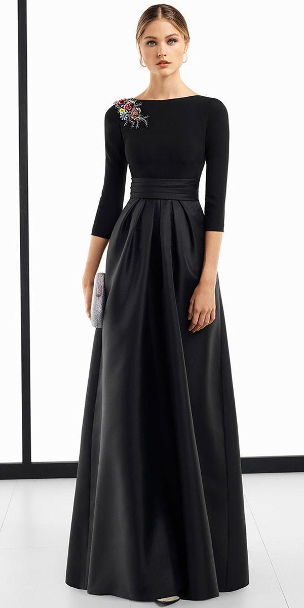 Elegante Spandex & Satin Bateau Ausschnitt 3/4 Länge Ärmel A-Line Abendkleid …   – Satin Kleid