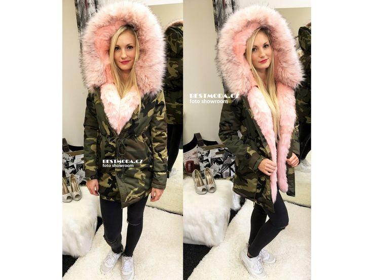 Army PARKA s růžovým kožíškem, SKLADEM - Bestmoda - Army parka with fur in stock - we ship worldwide