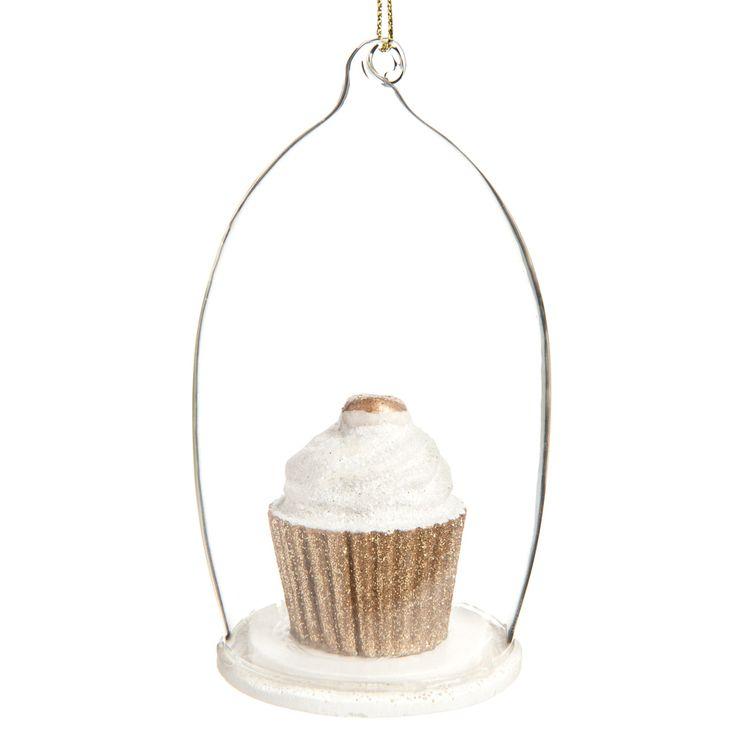 Déco globe Cupcake doré pour sapin   - Vendu par 6