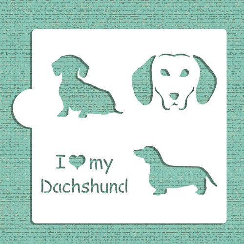 I Love My Dachshund Cookie, Cupcake & Craft Stencil - Designer Stencils (CM024) by LilyBearLane on Etsy https://www.etsy.com/listing/272306304/i-love-my-dachshund-cookie-cupcake-craft