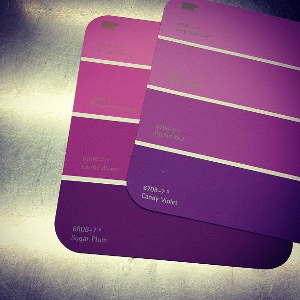 Purple Paint Samples Going With Different Tones Of Purple