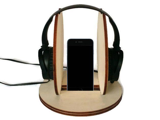 Accessori cellulare - Supporto per cuffie e stand per telefono in legno - un prodotto unico di Lexio_shop su DaWanda