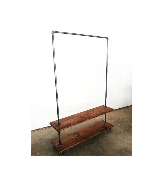 Double Base Industrial Steel Garment Rack w/ by pennylanewhitneyj, $275.00