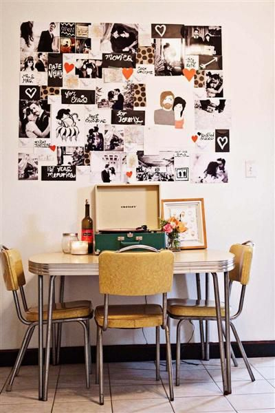 Retro kitchen table, complete w a record player where it belongs