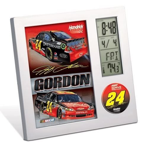 Wincraft Jeff Gordon Desk Clock Thermometer - Jeff Gordon One Size by WinCraft. $19.94. Show your loyalty to your favorite NASCAR(r) driver with this officially licensed desktop clock from WinCraft(tm)! The clock includes an easel back as well as a clean, contemporary square case with an LCD time and temperature display. The digital display also has a calendar, an alarm, and a timer. It requires two AAA batteries, which are included.