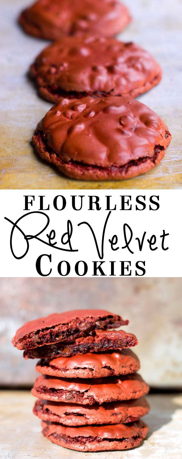 Flourless Red Velvet Cookies - Erren's Kitchen - An indulgent, sweet, soft, and chewy cookie.