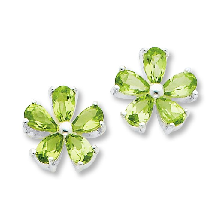 peridot jewelry | Jared - Peridot Flower Earrings Sterling Silver
