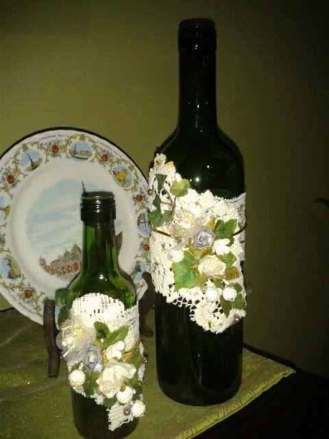 Botellas de vino adornadas con encaje y flores | ideas para la ...