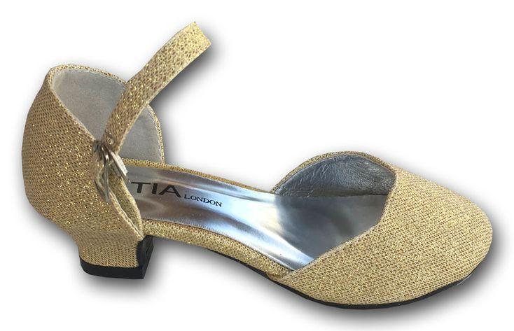 """Παιδικά Παπούτσια Γόβες με Τακούνια Για Παρανυφάκια - Πάρτι σε Χρώμα Χρυσαφί """"Sanchez"""" - https://memoirs.gr/"""