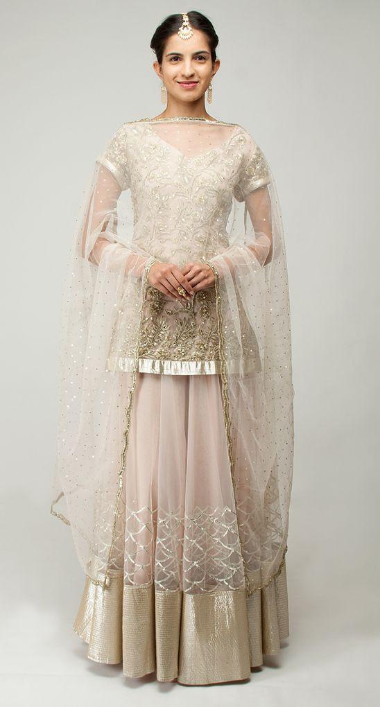 Beige sequins applique detail lehenga set by Shehla Khan. Shop now at www.perniaspopupshop.com! #perniaspopupshop #shopnow #shehlakhan #pretty #beautiful #designer #hotseller #happyshopping