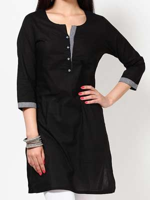 Jabong-Kira-32F4Th-Sleeve-Solid-Black-Kurti