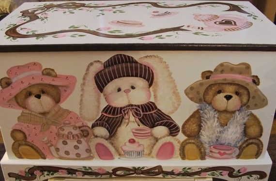 Teddy Bear and Bunny Tea Party Toy Box by originalsbybarbmazur, $279.00