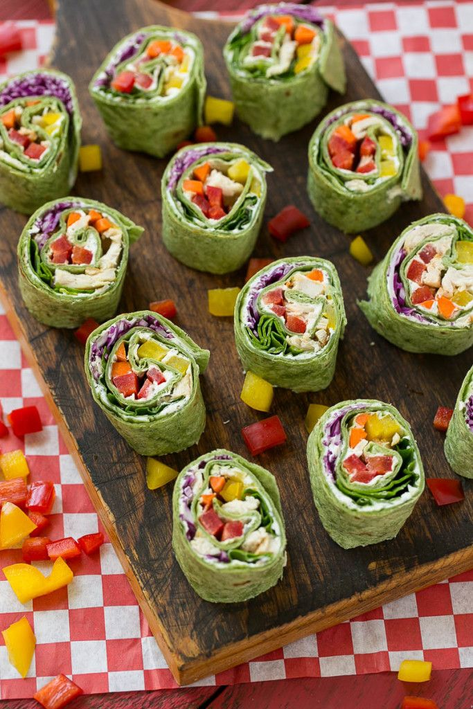 Rainbow veggie pinwheels are made with homemade ranch spread and a variety of fresh veggies for a colorful and healthy lunch, snack or appetizer. #ChooseSmart Ad
