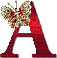 Alfabeto rojo con mariposas doradas. - Oh my Alfabetos!