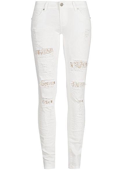 Seventyseven Lifestyle Hose Damen Jeans 5-Pockets Destroy Look Spitze off weiss Seventyseven Lifestyle Hosen   77onlineshop im Online Shop preiswert kaufen
