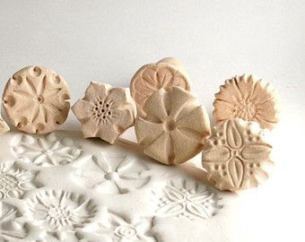 Clay Stamp Flower Power Random Tool for Ceramics Pottery Polyclay Metal Clay ONE or TWO Stamps