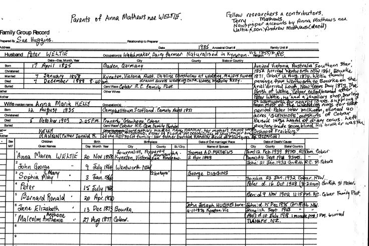 Peter Weltie`s  family tree chart, father of Anna Mathews who married the eldest son of Thomas & Mary Mathews.