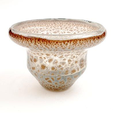 Free blown Unica vase X 1473 clear glass with ochre powders under spread crackle design A.D.Copier 1946 executed by Glasfabriek Leerdam / the Netherlands