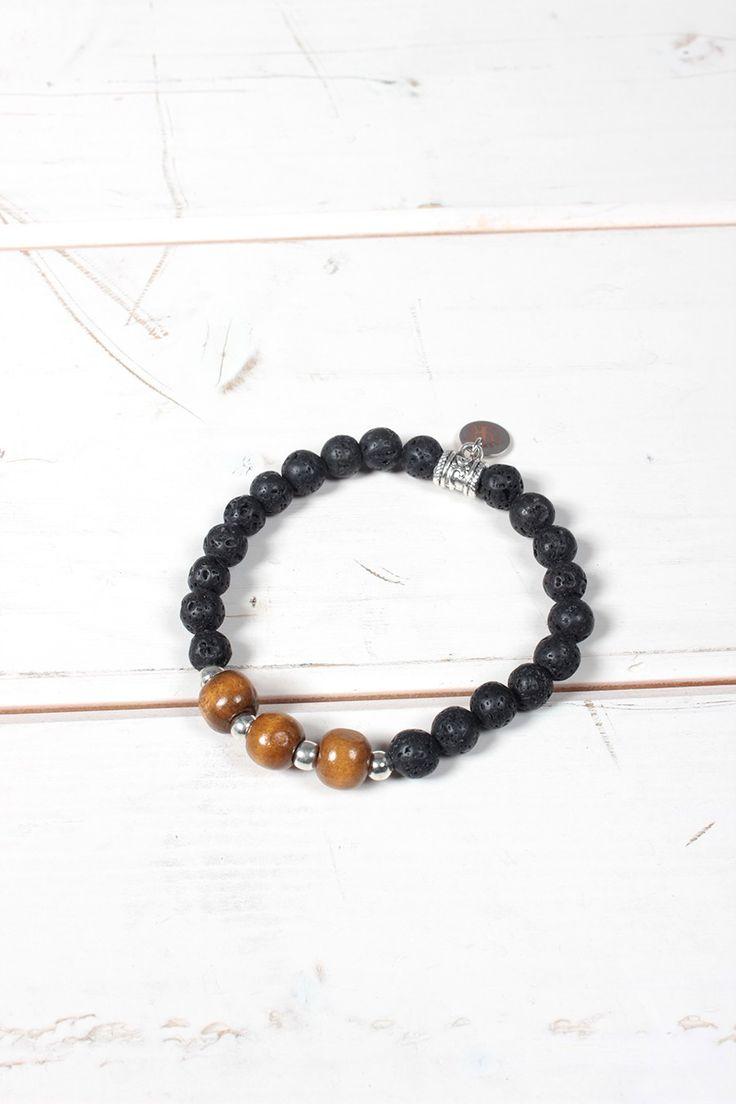 Bracciale unisex Yesring9 con perle grigie grezze e marroni in legno