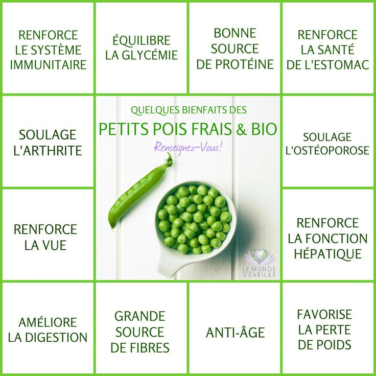 Les Bienfaits de Petits Pois <3 Some health Benefits of Organic Green Peas: Boost immunity - Balance blood sugar - Source of protein - Stomach health - Osteoporosis - Liver health - Anti-aging - High source of fibre - Improve digestion - Eyesight - Arthritis <3 www.lemondeseveille.com