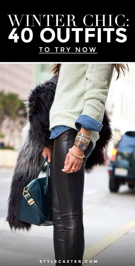 Winter Outfit Idea: All it takes is a pair of leather (or faux) leggings, a denim shirt and your favorite sweater. From there, pile on the bracelets, grab your favorite structured bag and top it off with a cool fur coat. Perfect daytime outfit!