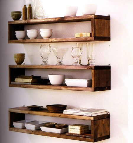 industrial-style timber shelves