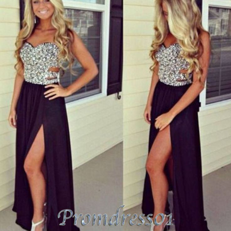 2015 prom dresses by #promdress01, cute sweetheart strapless beaded side slit black chiffon hollow out prom dress for teens, ball gown, evening dress, grad dress #promdress
