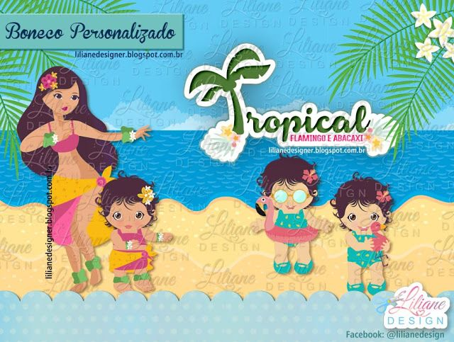 Tropical: flamingo e abacaxi