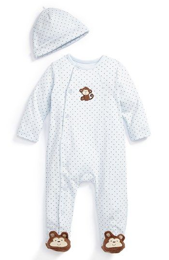 Little Me 'Monkey' Footie & Hat (Baby Boys) available at #Nordstrom Monkey feet!!!