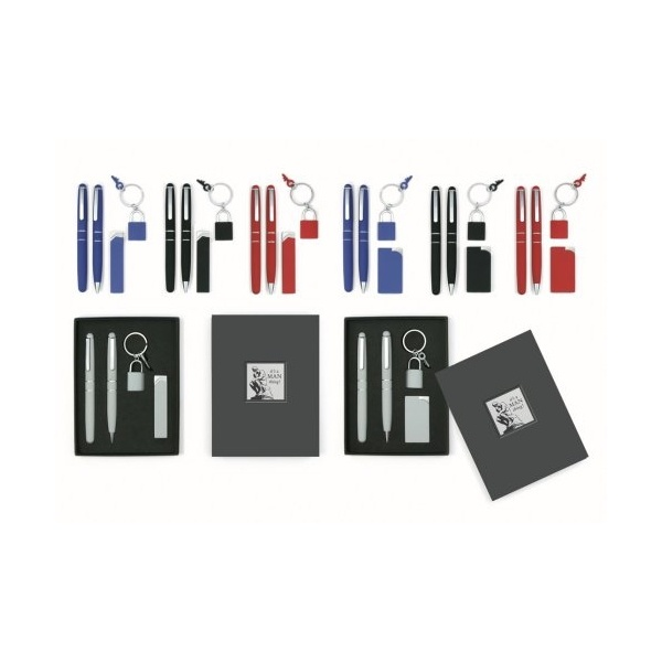 Stylish Grey Pen & Compact Lighter Set