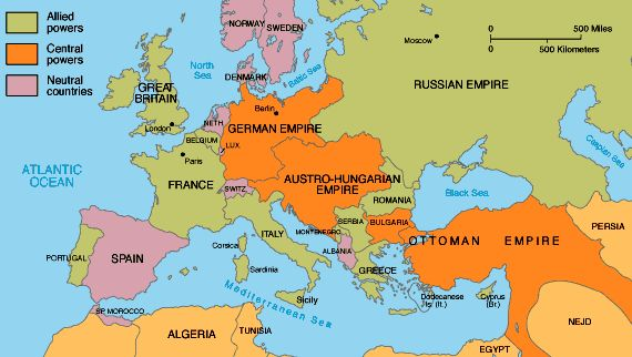 Political map of Europe in 1914. The countries are separated by allied powers, central powers, and neutral colonies.