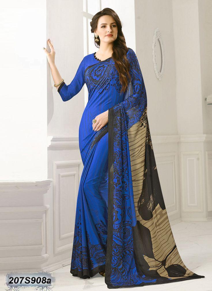 Majestic Blue coloured Bemberg Silk Printed Saree
