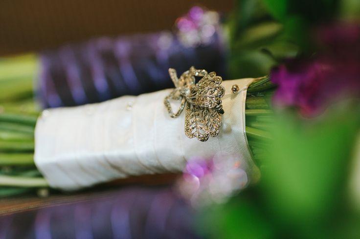 Nana's brooch on bouquet www.wanakaweddingflowers.co.nz/gallery/