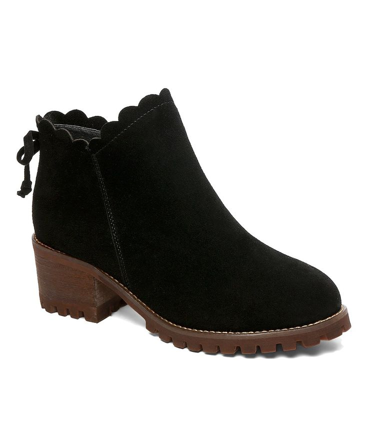 Take a look at this Black Tie-Accent Scallop-Trim Suede Ankle Boot today