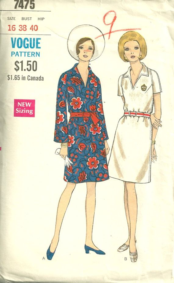 Vogue 7475 1960s Misses Bell Sleeve Dress Pattern By