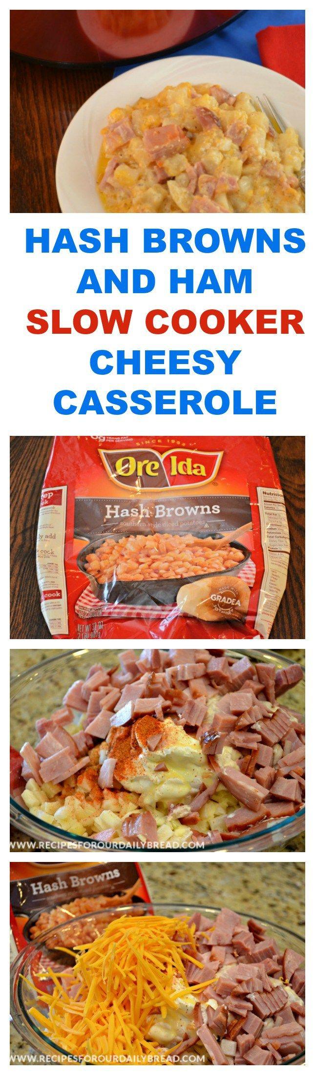 HASH BROWNS AND HAM SLOW COOKER CHEESY CASSEROLE  PRINT RECIPE HERE: http://recipesforourdailybread.com/crock-pot-cheesy-hash-browns-ham/