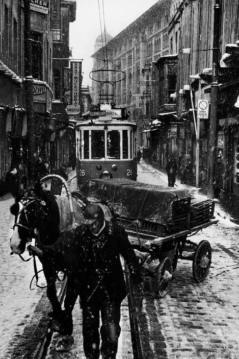 Ara Guler Winter arrives in the Sirkeci district of Istanbul.