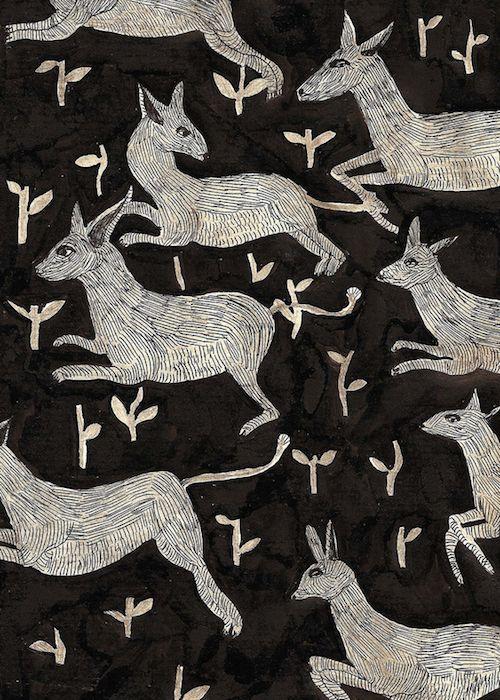 Eleanor Taylor: Illustrations Art, White Animal, Animal Patterns, Deer Pattern, Chalkboards Art, Eleanor Taylors Animal, Animal Prints, Eleanortaylor, Fabrics Design
