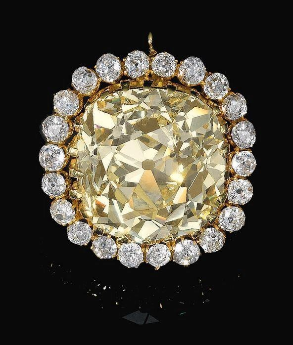 74.53 carats, cushion, fancy yellow diamond jewel. Late 19th century. This diamond formed part of the private collection of his Late Imperial Majesty Sultan Ahmed Shah Qajar, the seventh and last King of the Qajar dynasty of Persia (r. 1909-1925)