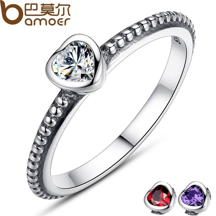 BAMOER 3 Colors Sterling Silver Heart Shaped Stone Ring //Price: $10.95 & FREE Shipping //     #stylish