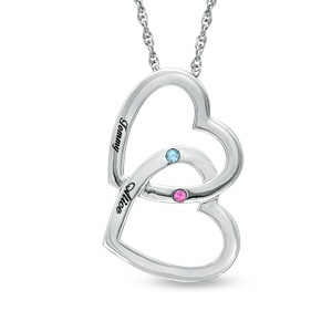 Zales Couples 6.0mm Birthstone Double Heart Drop Pendant (2 Stones and Names) wsY3UpC