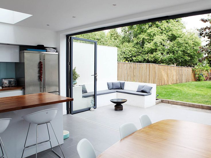 Folding Sliding Doors Manufacturer - good example of same level inside-to-outside smooth transition.