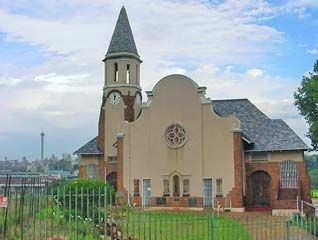 The distinctive profile of the Dutch Reformed Church, with Hillbrow in the background