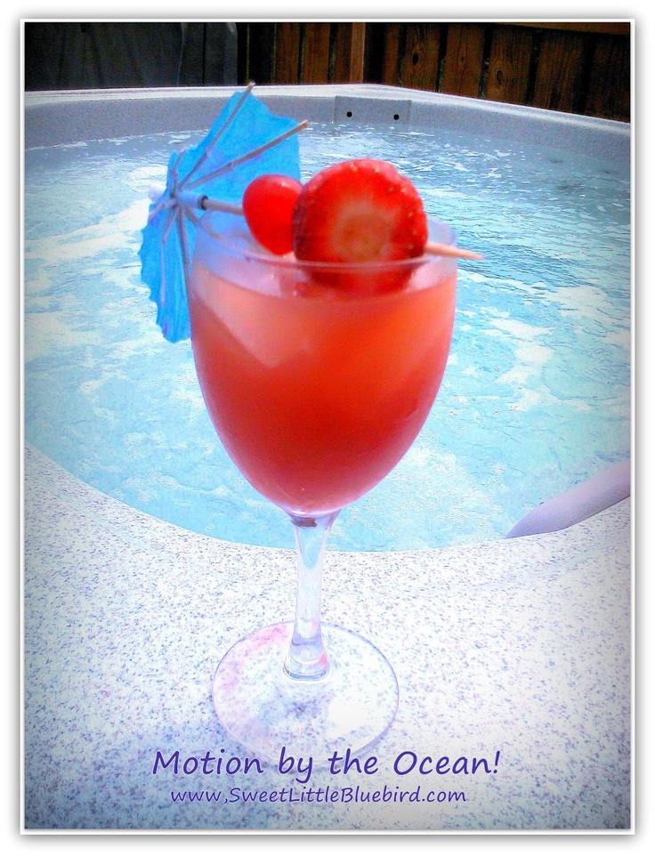 Motion by the Ocean:  peach schnapps, creme de cassis liqueur   vodka, orange juice, cranberry juice, orange slice & maraschino cherries!