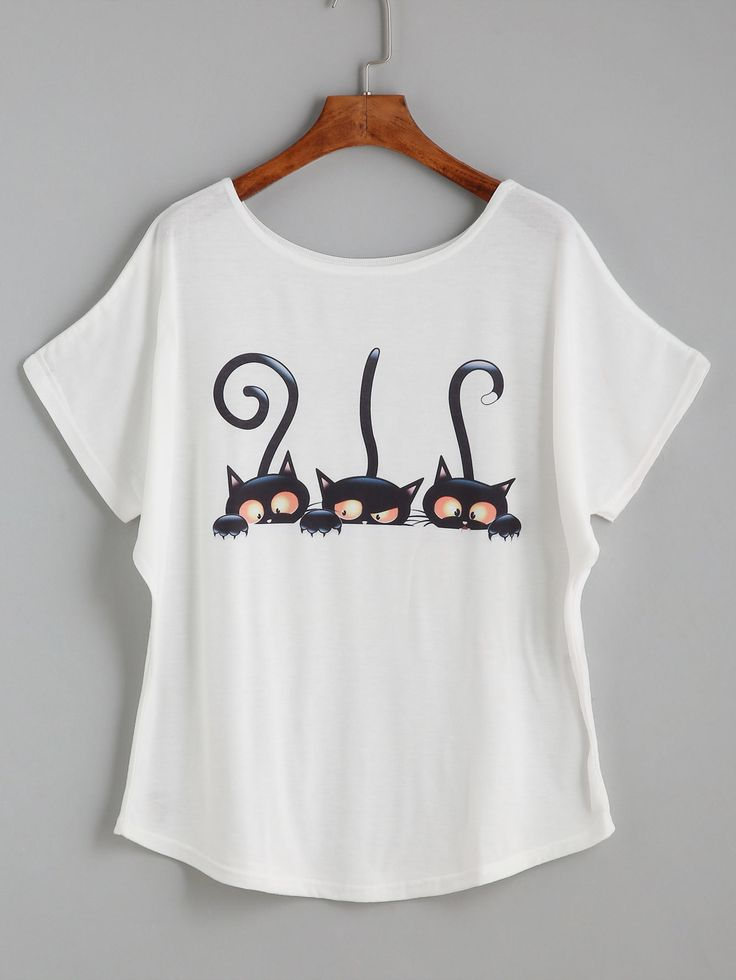 White Cartoon Cat Print Loose T-shirt -SheIn(abaday)