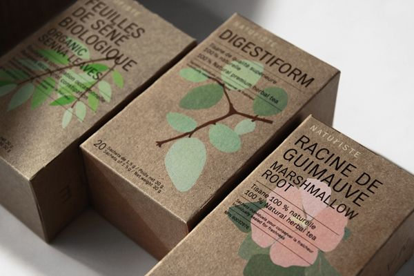 Naturiste / Branding What I like about this packaging is the simplicity of it. They just put flowers or branches, added some typography and there you have a simple package. I guess some people wouldn't like it though, but I've always been a fan of flowers and nature.