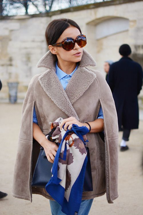 Miroslava Duma in a comfy yet chic look before the Valentino show PFW by Marianne Chagnon